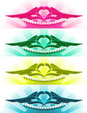 The heart tattoo. The some variations of tattoo with heart and gradient glow royalty free illustration