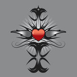 Heart tattoo design. Red heart and silver flames tattoo design- vector illustration Stock Image