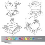 Heart Tattoo Design - coloring book Royalty Free Stock Image