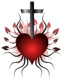 Heart tattoo with cross and leaves isolated Royalty Free Stock Photo