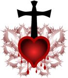 Heart tattoo with cross isolated Royalty Free Stock Photography