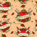 Heart Tattoos seamless pattern Stock Images
