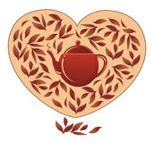 Heart with tea Royalty Free Stock Photos
