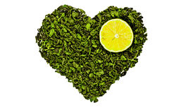 The heart of the tea with lemon Stock Images