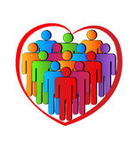 Heart teamwork people logo. Heart people teamwork logo vector icon design Stock Images