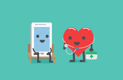 Heart technician checking smartphone. Smartphone sit on a chair for checking heath with heart technician carrying first aid box for maintenance. It moblie phone Royalty Free Stock Photography