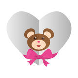 Heart with teddy bear and bow icon image. Illustration design Stock Photos
