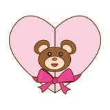 Heart with teddy bear and bow icon image. Illustration design Stock Image