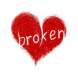 Heart with text Broken Stock Photography