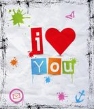 Heart with text I love you Stock Image