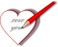 Heart with text LOVE YOU Royalty Free Stock Photo