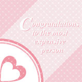 A heart and the text. Vintage background. Vector. The recognition of the dearest person on a pink background Stock Photography