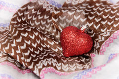 Heart on the textile Stock Image