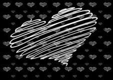 Heart with texture.Linear heart with texture on black background. royalty free illustration