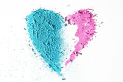 Heart texture. Blue and pink heart texture made by pastel stick dust Stock Images