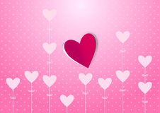 Heart theme background. Pink color vector background with love theme vector illustration