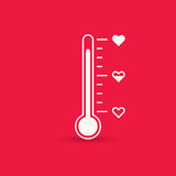 Heart thermometer icon. Love card Stock Photography