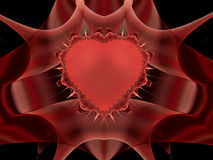 Heart of thorns. Fractal flame representing a heard with thorns, encased in red crystal Stock Photography