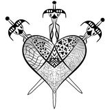 Heart and three swords vector Zentangle style Stock Image