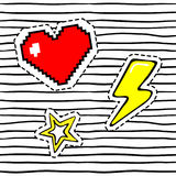 Heart, thunderbolt, star. Retro sticker patch set. Stock Photo