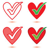 Heart & Tick Icon Set. Heart & tick symbols in different shading styles, isolated with optional shadows Stock Photo