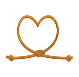 Heart tie rope. thick rope of love. Rope love. Symbol of eternal. Love-knot Stock Photos