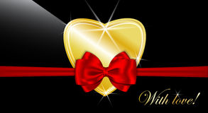 Heart tied with red bow on black Royalty Free Stock Images