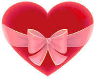 Heart tied ribbon. Heart shape gift for valentines day Royalty Free Stock Image