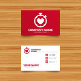 Heart Timer sign icon. Stopwatch symbol. Royalty Free Stock Photography