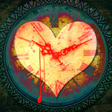 Heart Times. Grunge illustration with a bleeding heart shape over a textured clock face Royalty Free Stock Photo