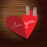 Heart to love on red paper. Heart and red background. i love you Stock Photos