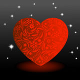 Heart to the St.Valentine. Heart with  red flowers on a black background Royalty Free Stock Images
