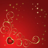 Heart to the St.Valentine. Heart with gold  branch  on a red background Royalty Free Stock Photo