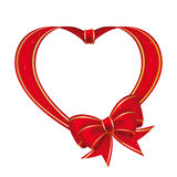 Heart to the St.Valentine. Heart with bow from red ribbon  on a white background Stock Photo
