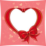 Heart to the St.Valentine. Heart with bow from red ribbon  on a pink background Stock Image