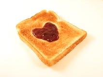 Heart Toast. Jam heart on toast Stock Images