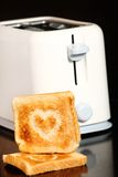 Heart on toast Royalty Free Stock Photos