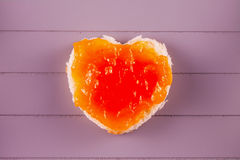 Heart toast with jam Stock Photography