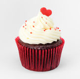 Heart on top of cupcake valentine Royalty Free Stock Image