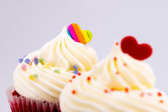 Heart on top of valentines cupcake Royalty Free Stock Photos