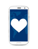 Heart touch screen phone Royalty Free Stock Images