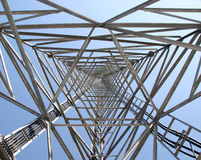 The heart of a tower. The heart of a communications tower reaches to the sky Royalty Free Stock Photography