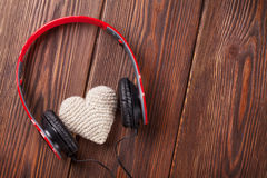 Heart toy with headphones Royalty Free Stock Image