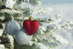 Heart toy with silver balls on a pine branch in the snowy forest. Valentine's Day concept. Heart toy with silver balls on a pine branch in the snowy forest royalty free stock photography