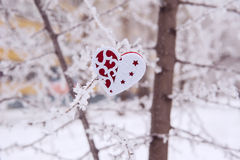 Heart toys covered with snow Stock Image