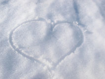 Heart track in snow Royalty Free Stock Photography