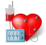 Heart transfusion and cardiac monitor. Blood transfusion flowing to heart and cardiac monitor stock illustration