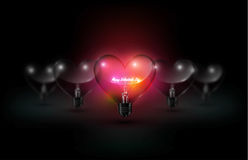 Heart transparent glass light bulb and glow happy valentines day lettering on red background with Valentine`s day concept, vector Royalty Free Stock Photo