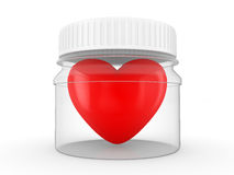 Heart in a transparent vessel with a cover Stock Photo