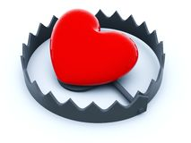 Heart in the trap. Isolated on white Stock Images